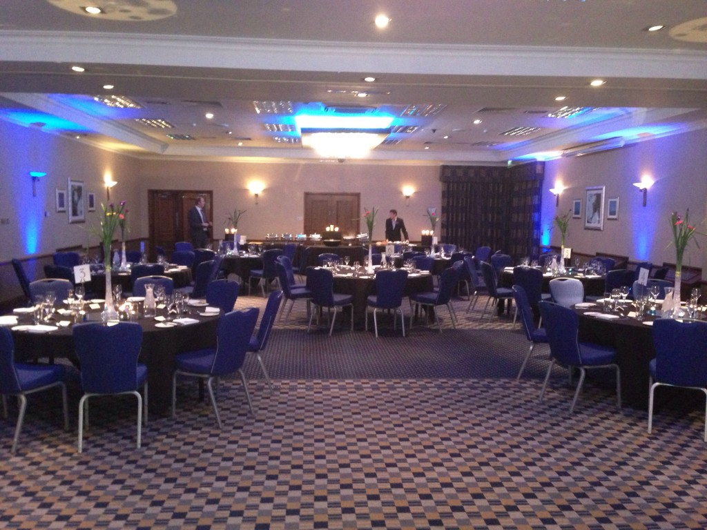 The evening meal being set up by the staff